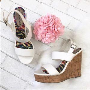 Madden Girl White Wedge Sandals. NWOT